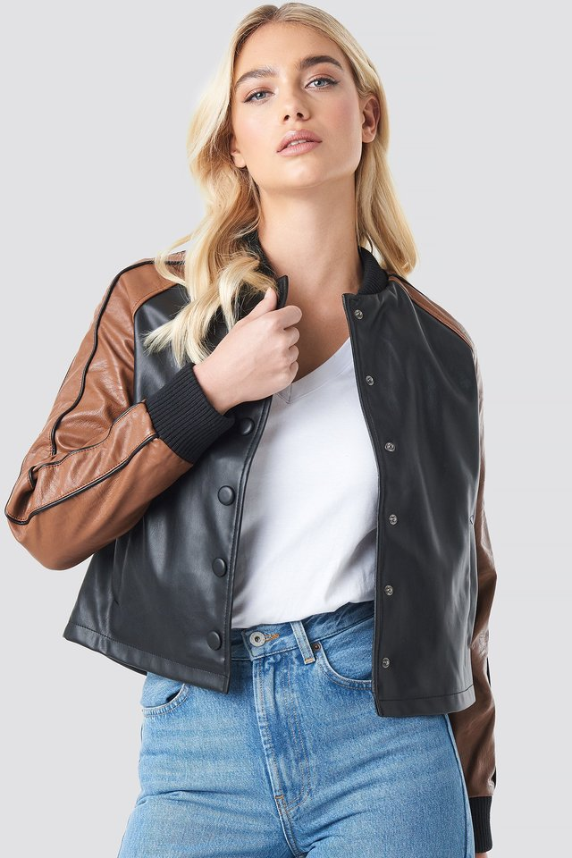 Contrast Sleeve PU Jacket Black