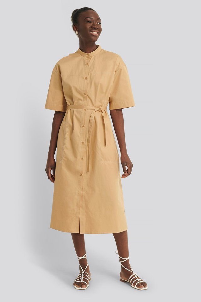 Beige Organic Contrast Toptstitch Shirt Dress