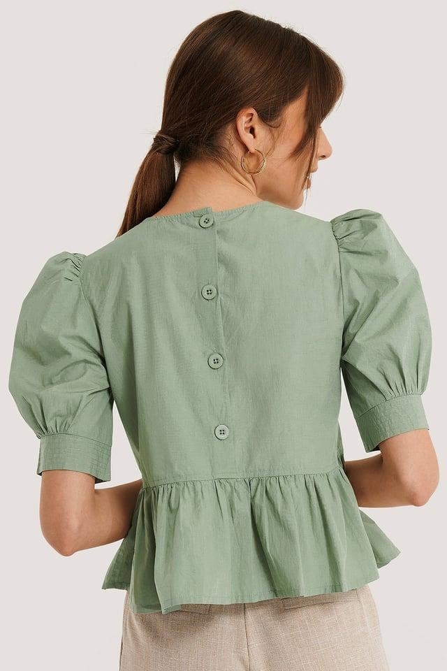 Bawełniana Bluzka Z Bufiastymi Rękawami Light Green