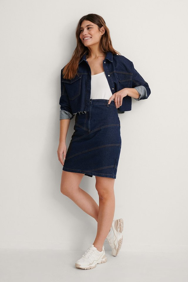 Dark Blue Seam Detail Midi Denim Skirt