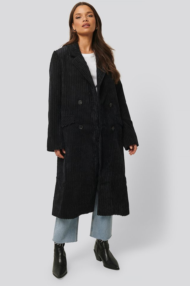 Corduroy Coat Black
