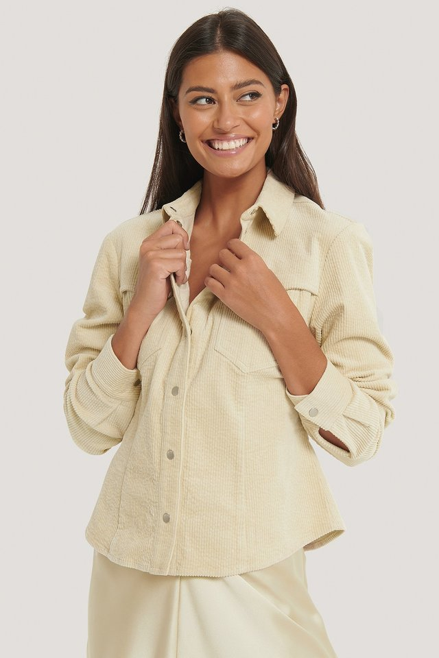 Corduroy Double Pocket Overshirt Beige