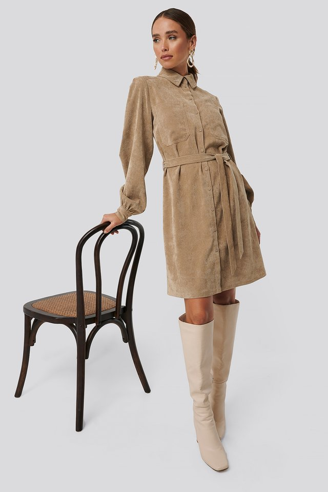 Corduroy Tied Waist Shirt Dress Beige