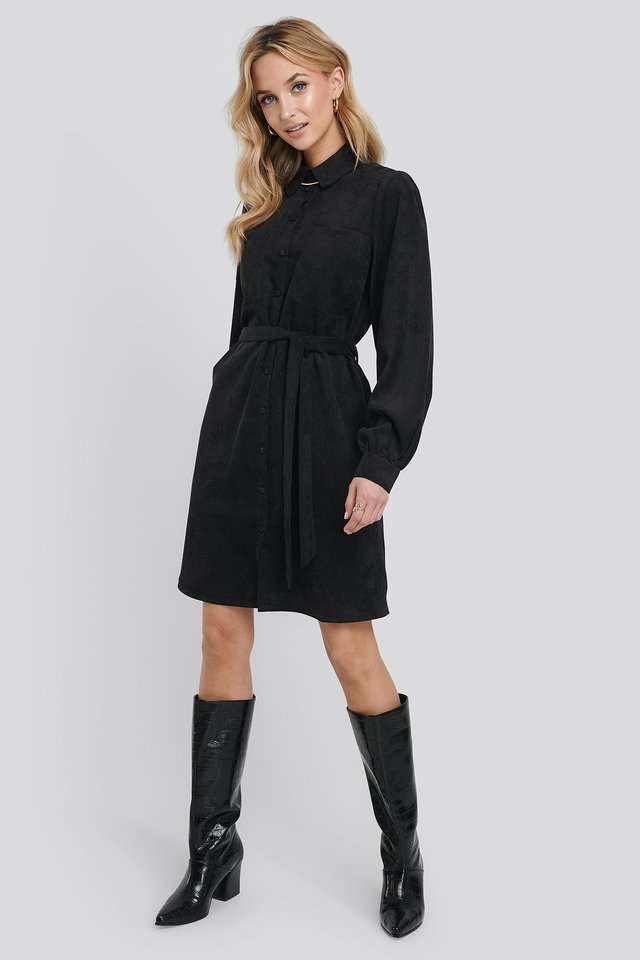 Corduroy Tied Waist Shirt Dress Black