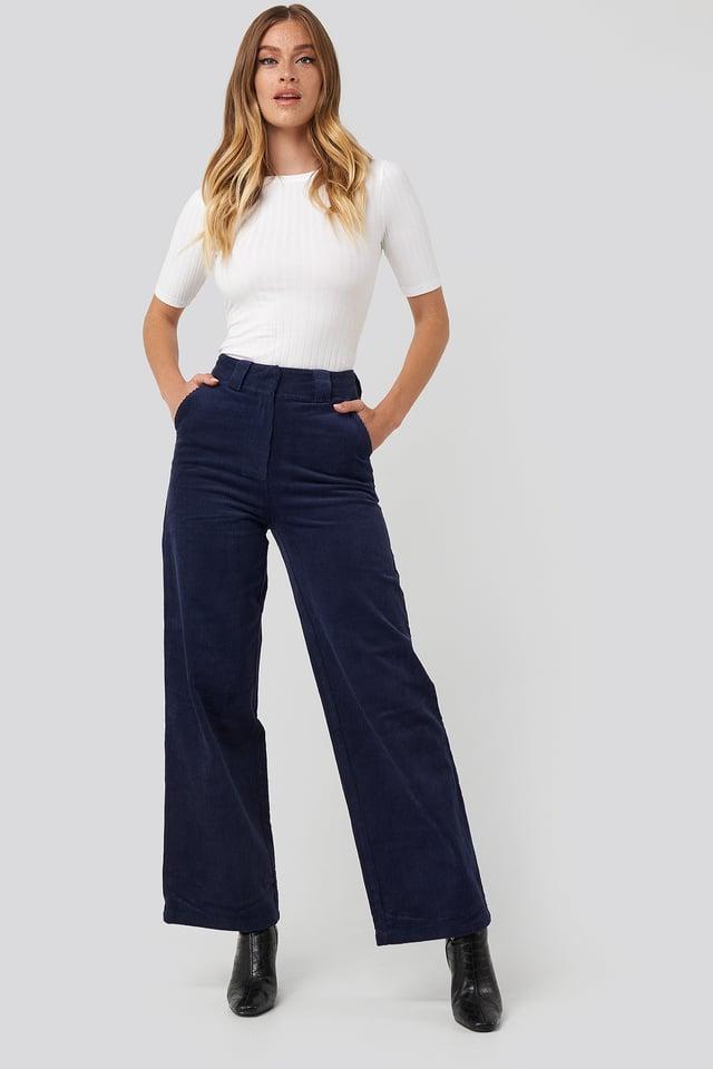 Corduroy Wide Leg Suit Pants Navy