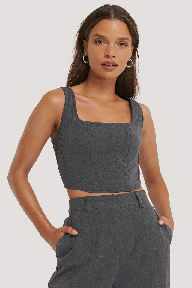 Corset Top Dark Grey