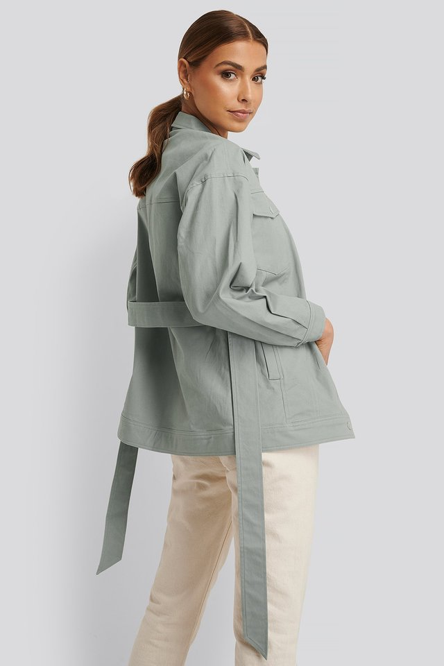 Cotton Belted Jacket Dusty Green