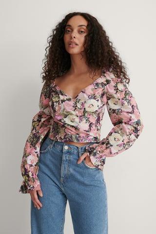 Flower Print Bluse