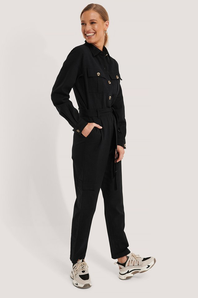 Cotton Canvas Jumpsuit Black