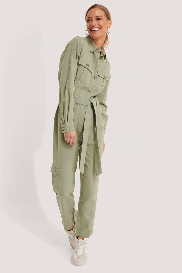Cotton Canvas Jumpsuit Green