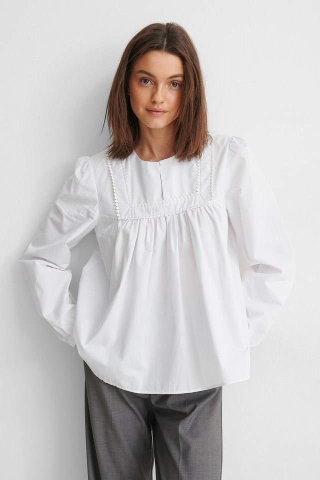 White Cotton Detail Blouse