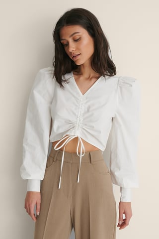 White Cotton Drawstring Top