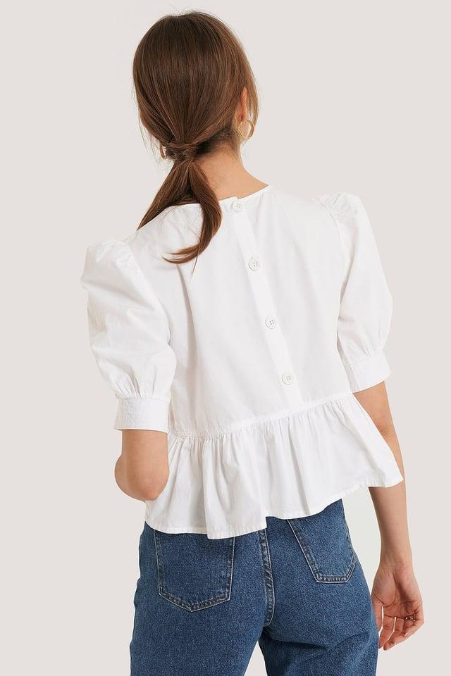 Cotton Puff Sleeve Blouse NA-KD Boho