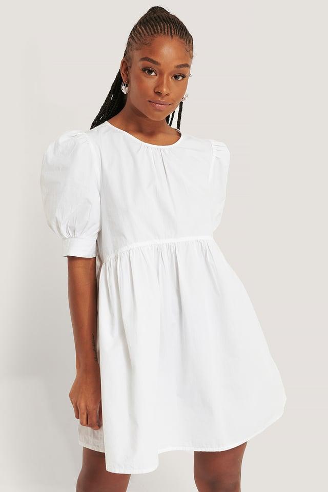 White Cotton Short Sleeve Mini Dress