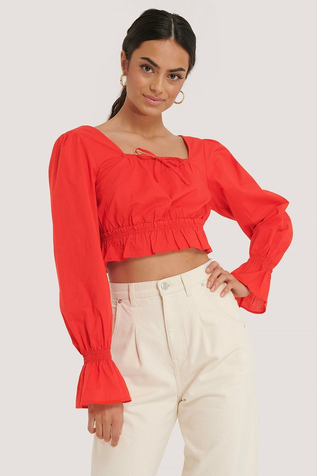 Cotton Square Neck Bow Blouse Red