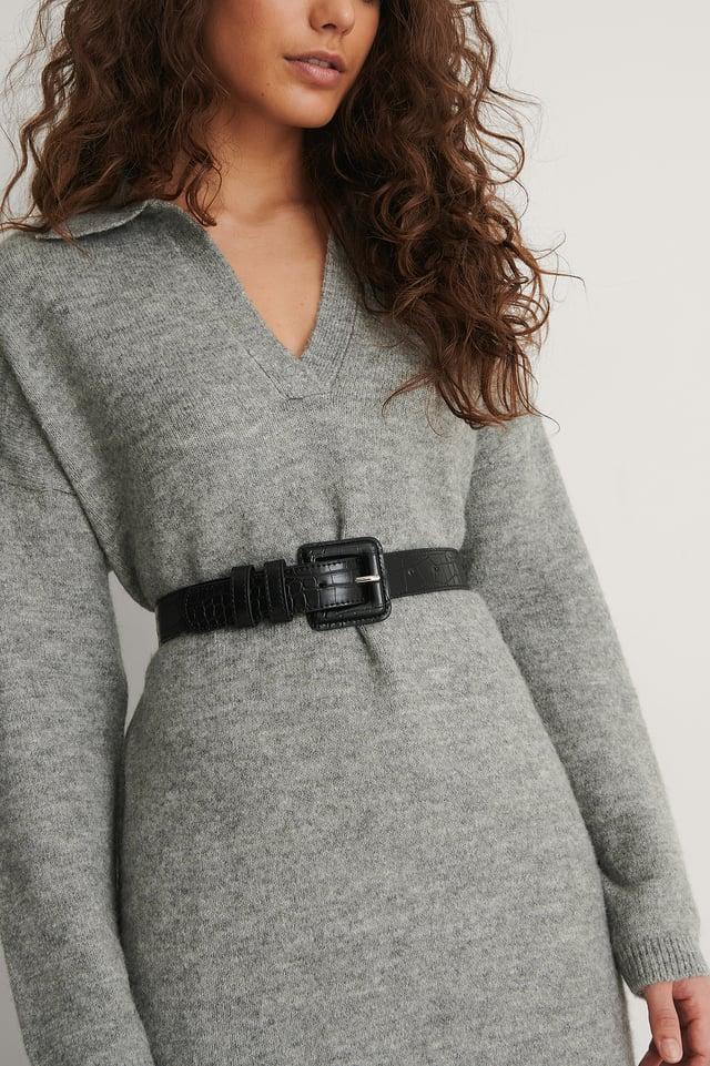 Black Covered Buckle Croc Belt