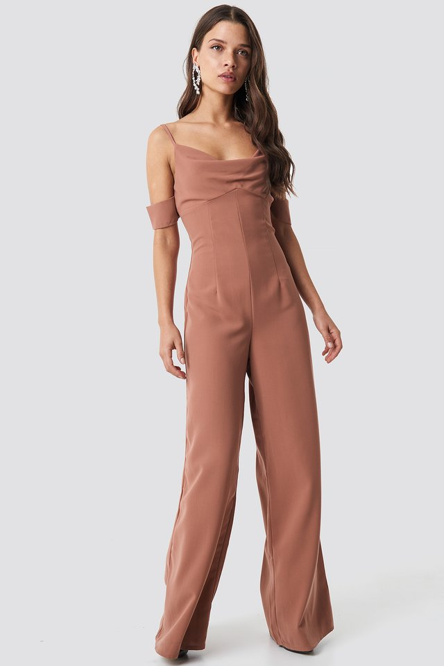 Cowl Neck Jumpsuit Warm Brown