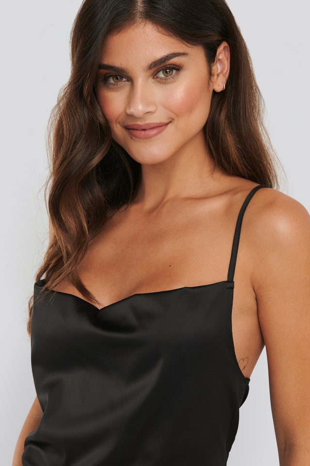 Cowl Neck Satin Singlet Black