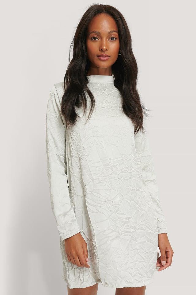 Grey Creased Effect Long Sleeve Mini Dress