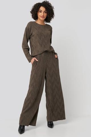 Brown Creased Effect Loose Fit Pants
