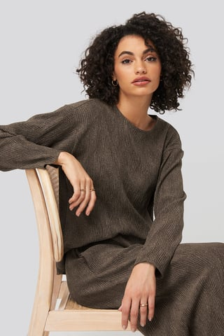Brown Creased Effect Round Neck Top