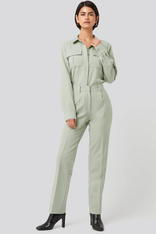 Dusty Green Creased Mid Rise Suit Pants
