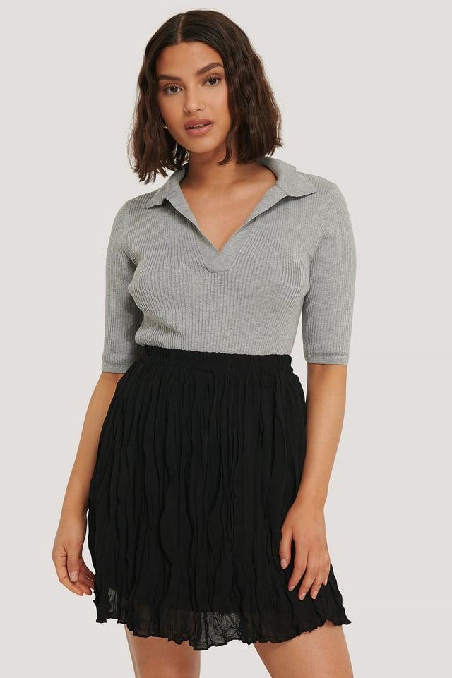 Creased Mini Skirt Black