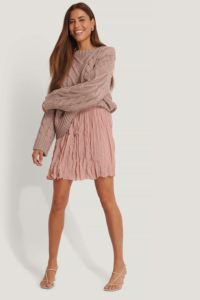 Dusty Pink Creased Mini Skirt