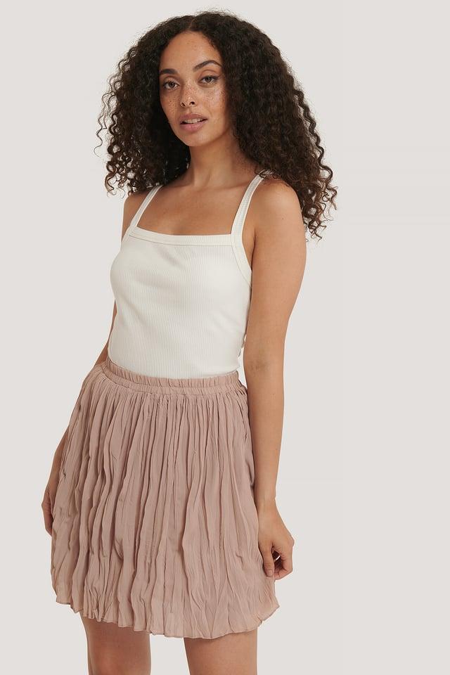 Latte Creased Mini Skirt