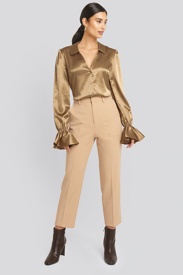 Creased Suit Pants Light Beige