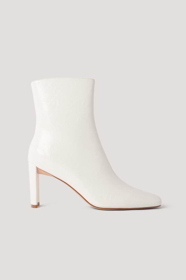 White Creased Upper Booties