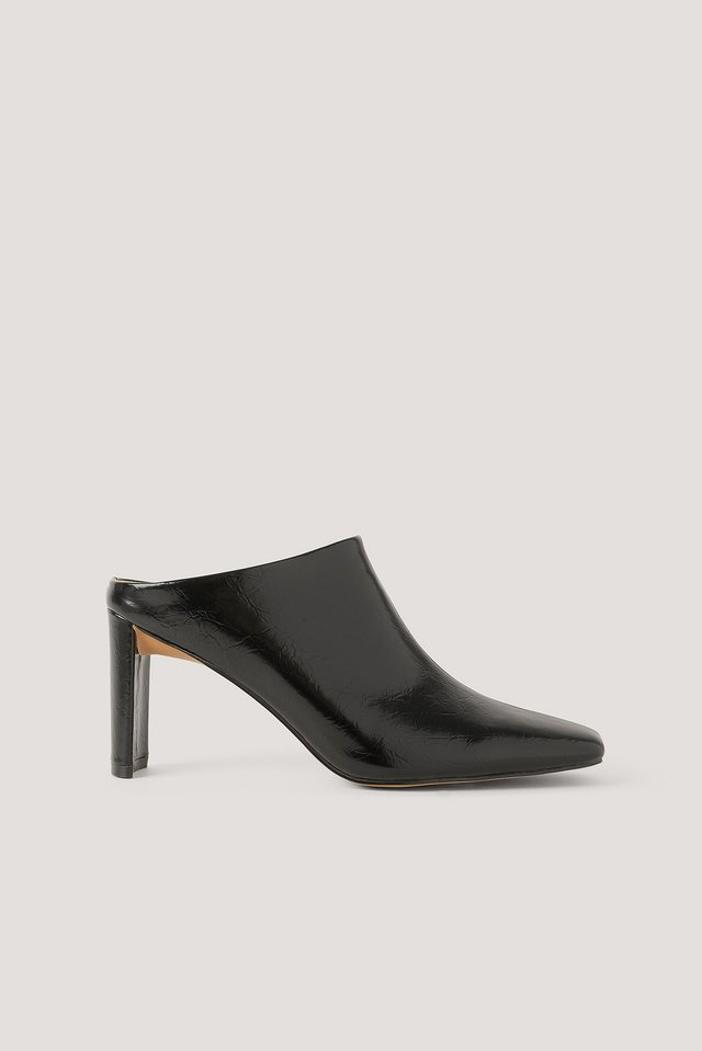 Black Creased Upper Mules