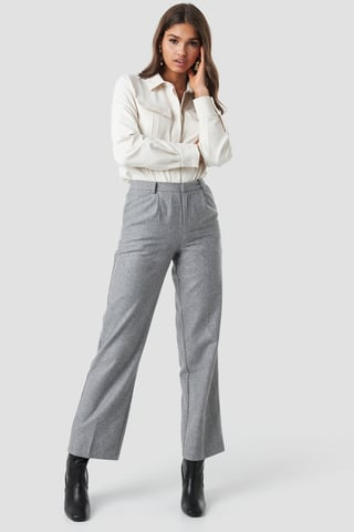 Light Grey Creased Wide Leg Pants