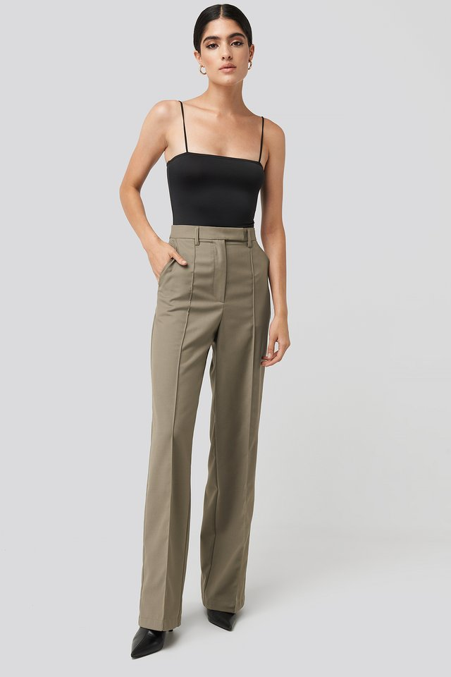 Creased Wide Leg Suit Pants Dark Sand