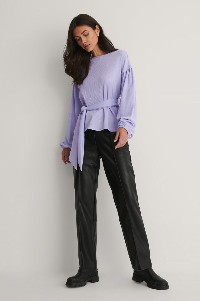 Lilac Crepe Belted Top