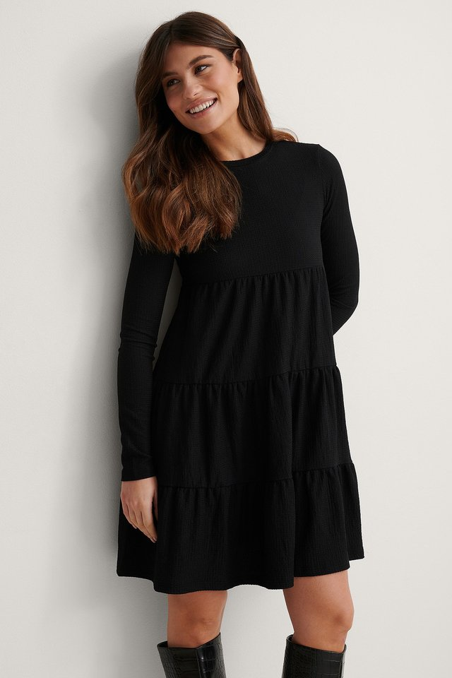 Black Crepe Flounce Detail Dress