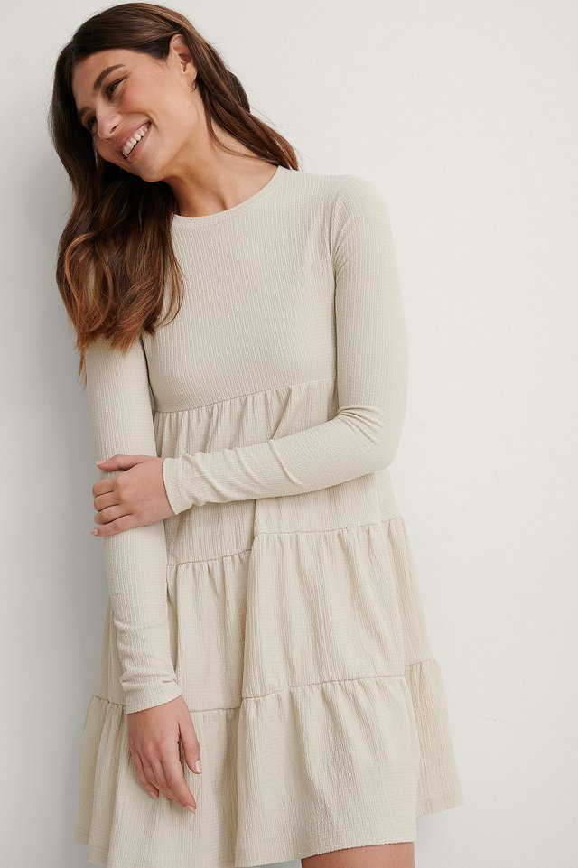 Beige Crepe Flounce Detail Dress