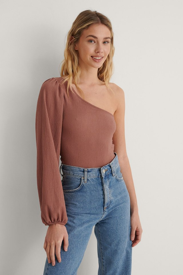 Dusty Pink Crepe One Shoulder Top