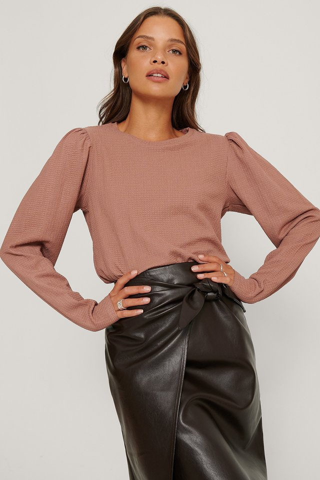 Dusty Dark Pink Crepe Puff Shoulder Top