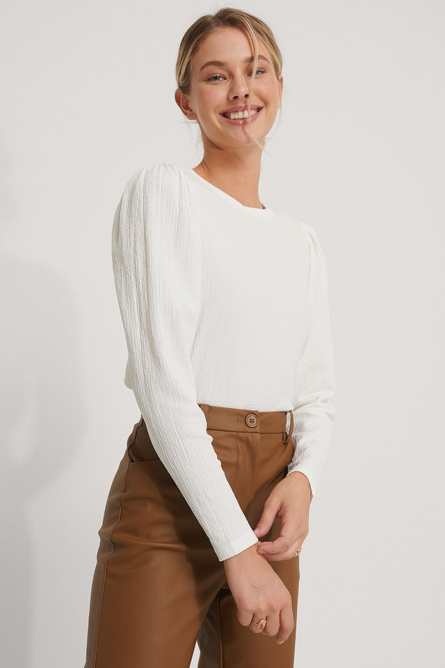 Crepe Puff Shoulder Top Offwhite