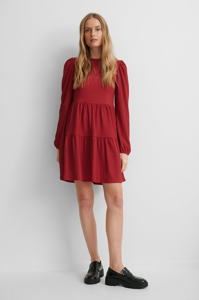 Red Crepe Puff Sleeve Dress
