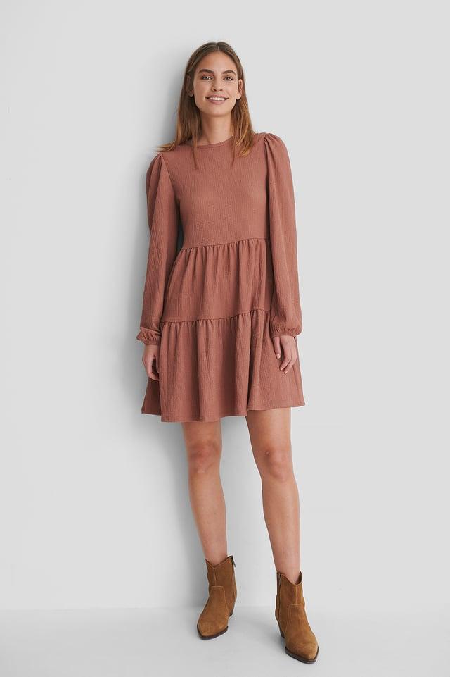 Crepe-Kleid Mit Puffärmeln Dusty Dark Pink