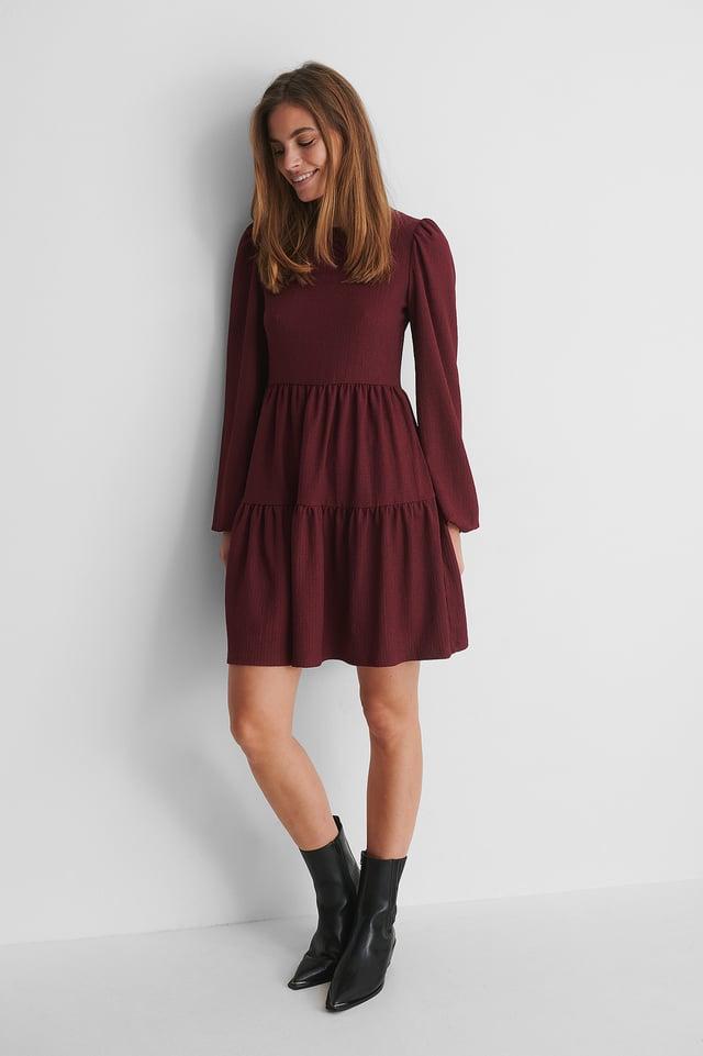 Bordeaux Crepe-Kleid Mit Puffärmeln