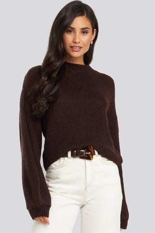 Plum Crew Neck Volume Sleeve Knitted Sweater