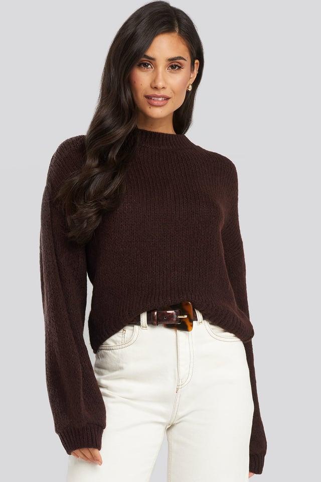 Crew Neck Volume Sleeve Knitted Sweater Plum