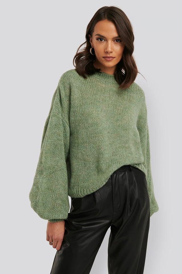 Crew Neck Volume Sleeve Knitted Sweater Light Petrol