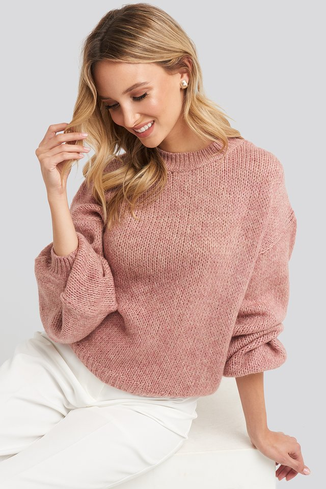 Peachy Rose Crew Neck Volume Sleeve Knitted Sweater