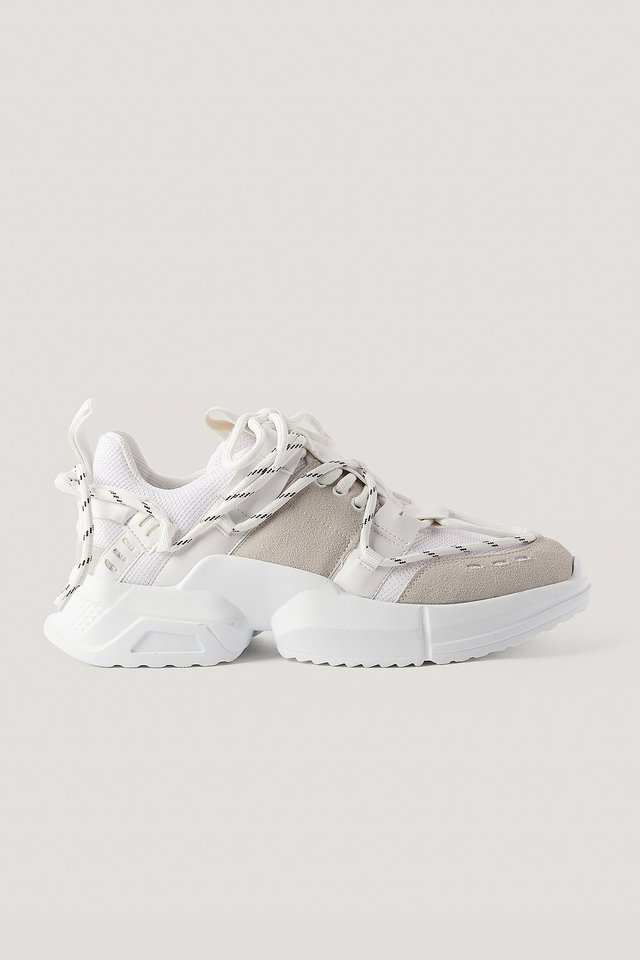 White Criss-Cross Lacing Trainers