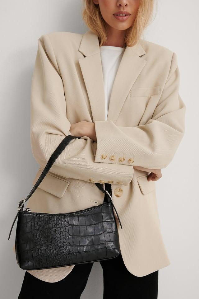 Black Croc Baguette Bag