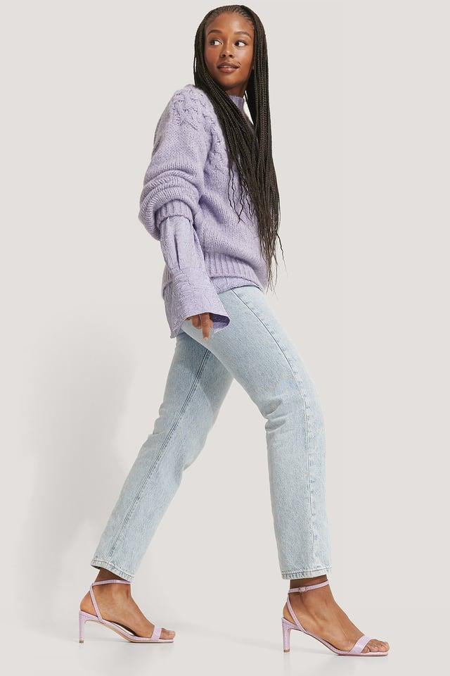 Lilac Croc Basic Block Heel Sandals